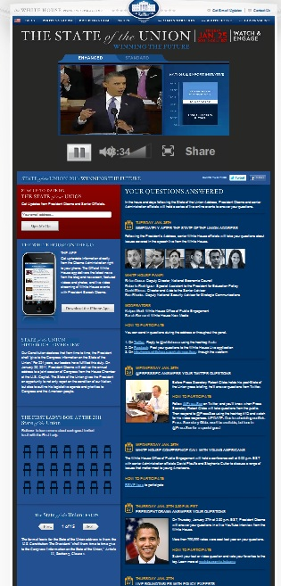 White House State of Union Web Page